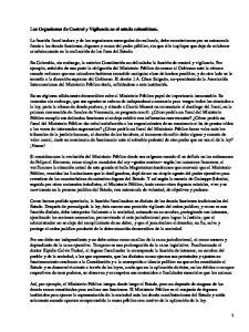 Los Organismos de Control y Vigilancia en el estado colombiano