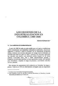 LOS ORIGENES DE LA INDUSTRIALIZACION EN COLOMBIA ( )