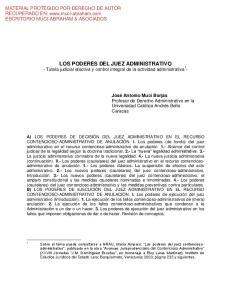 LOS PODERES DEL JUEZ ADMINISTRATIVO - Tutela judicial efectiva y control integral de la actividad administrativa 1 -