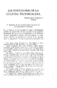 LOS PORTADORES DE LA CULTURA TEOTIHUACANA