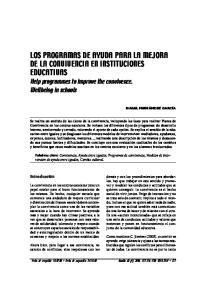 LOS PROGRAMAS DE AYUDA PARA LA MEJORA DE LA CONVIVENCIA EN INSTITUCIONES EDUCATIVAS