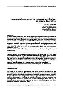 Los recursos humanos en las empresas certificadas: un estudio descriptivo
