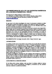 LOS RESERVORIOS DE AGUA EN LOS CONTEXTOS DOMÉSTICOS DE LA SOCIEDAD PREHISPÁNICA BELÉN