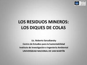 LOS RESIDUOS MINEROS: LOS DIQUES DE COLAS