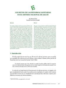 LOS RETOS DE LAS REFORMAS SANITARIAS EN EL SISTEMA NACIONAL DE SALUD