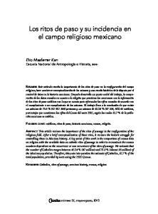 Los ritos de paso y su incidencia en el campo religioso mexicano