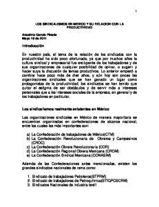 LOS SINDICALISMOS EN MEXICO Y SU RELACION CON LA PRODUCTIVIDAD