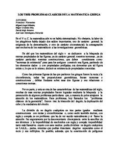 LOS TRES PROBLEMAS CLASICOS DE LA MATEMATICA GRIEGA