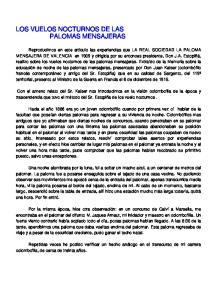 LOS VUELOS NOCTURNOS DE LAS PALOMAS MENSAJERAS