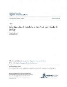Loss Translated: Saudade in the Poetry of Elizabeth Bishop