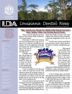Louisiana Dental News Newsletter of the Louisiana Dental Association