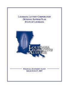 LOUISIANA LOTTERY CORPORATION OPTIONAL SAVINGS PLAN STATE OF LOUISIANA
