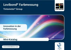 Lovibond Farbmessung. Mini-Katalog. Tintometer Group Innovation in der Farbmessung