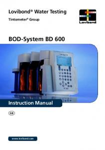 Lovibond Water Testing. Tintometer Group. BOD-System BD 600. Instruction Manual