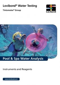 Lovibond Water Testing. Tintometer Group. Pool & Spa Water Analysis. Instruments and Reagents