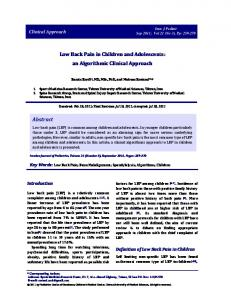 Low Back Pain in Children and Adolescents: an Algorithmic Clinical Approach