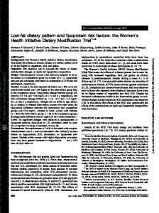 Low-fat dietary pattern and lipoprotein risk factors: the Women s Health Initiative Dietary Modification Trial 1 4