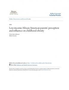 Low-income African American parents' perception and influence on childhood obesity