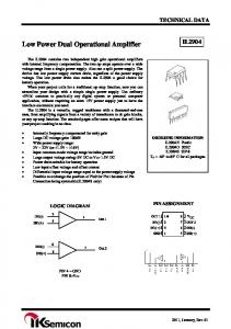 Low Power Dual Operational Amplifier