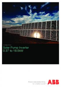 Low Voltage AC drives. Solar Pump Inverter 0.37 to 18.5kW