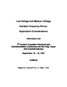 Low Voltage and Medium Voltage. Variable Frequency Drives: Application Considerations