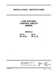 LOW VOLTAGE CONTROL CIRCUIT WIRING