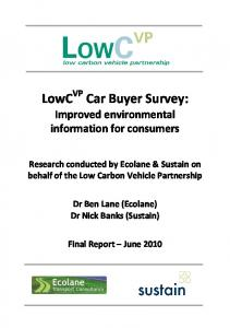 LowC VP Car Buyer Survey: Improved environmental information for consumers
