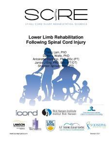 Lower Limb Rehabilitation Following Spinal Cord Injury