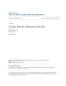 Loyalty Tests for Admission to the Bar
