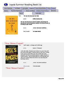 Loyola Summer Reading Book List