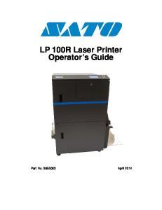 LP 100R Laser Printer Operator s Guide