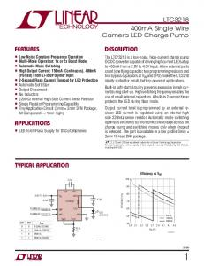 LTC mA Single Wire Camera LED Charge Pump DESCRIPTION FEATURES APPLICATIONS TYPICAL APPLICATION
