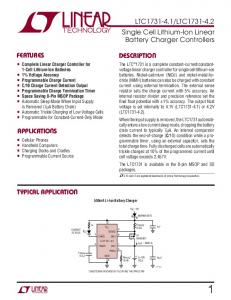 LTC Single Cell Lithium-Ion Linear Battery Charger Controllers FEATURES APPLICATIO S