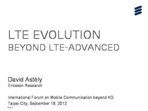 LTE evolution beyond lte-advanced