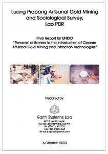 Luang Prabang Artisanal Gold Mining and Sociological Survey, Lao PDR