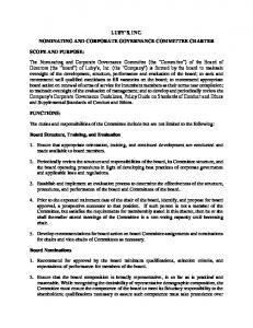 LUBY S, INC. NOMINATING AND CORPORATE GOVERNANCE COMMITTEE CHARTER