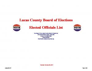 Lucas County Board of Elections. Elected Officials List