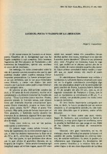 LUCRECIO, POETA Y FILOSOFO DE LA LlBERACION