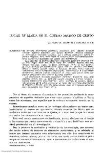 LUGAR DE MARIA EN EL CUERPO MISTICO DE CRISTO