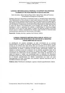 LUGNASA: METHODOLOGICAL PROPOSAL TO SUPPORT THE STRATEGIC PLANNING OF THE FOOD INDUSTRY IN GALICIA SECTOR