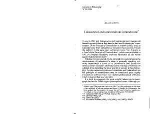 Lukasiewicz and Lesniewski on Contradiction