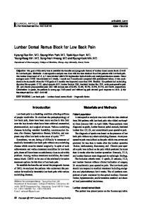 Lumbar Dorsal Ramus Block for Low Back Pain