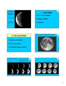 Lunar Motion. V. Lunar Motion. A. The Lunar Calendar. B. Motion of Moon. C. Eclipses. A. The Lunar Calendar. 1) Phases of the Moon. 2) The Lunar Month