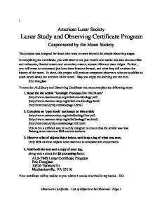 Lunar Study and Observing Certificate Program