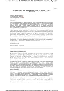lunazul.ucaldas.edu.co - EL MERCURIO, SUS IMPLICACIONES EN LA SALUD... EL MERCURIO, SUS IMPLICACIONES EN LA SALUD Y EN EL AMBIENTE