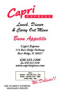 Lunch, Dinner & Carry Out Menu