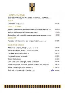 LUNCH MENU is served on Monday 16th November from 11:30a.m. to 14:30p.m