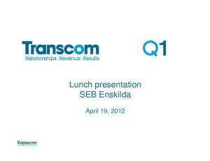 Lunch presentation SEB Enskilda