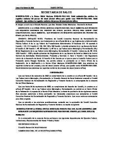 Lunes 9 de febrero de 2004 DIARIO OFICIAL 1 SECRETARIA DE SALUD