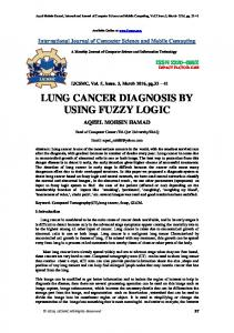 LUNG CANCER DIAGNOSIS BY USING FUZZY LOGIC